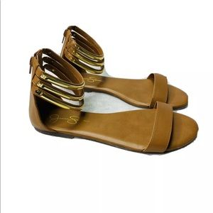 Jessica Simpson Tan and Gold Zip Up Flat Sandals